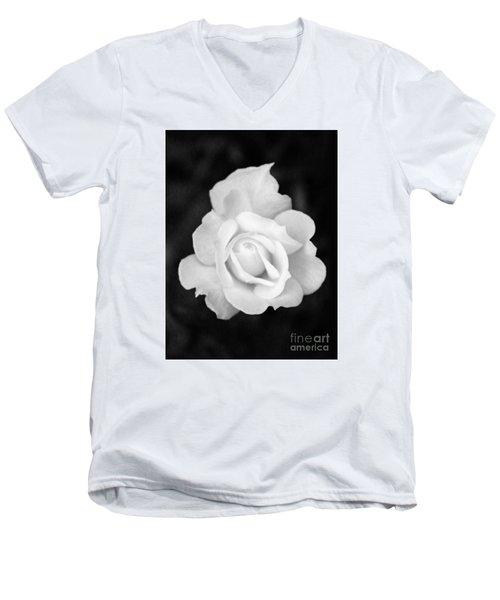 Rose In Black And White Men's V-Neck T-Shirt