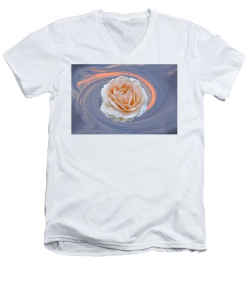 Rose In Swirl Men's V-Neck T-Shirt