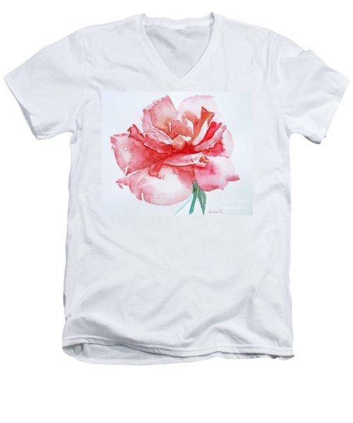 Rose Pink Men's V-Neck T-Shirt