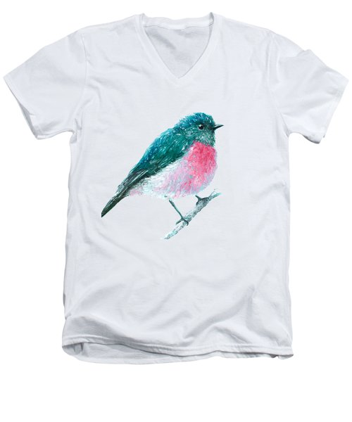 Rose Robin Oil Painting Men's V-Neck T-Shirt
