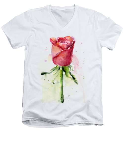Rose Watercolor Men's V-Neck T-Shirt by Olga Shvartsur