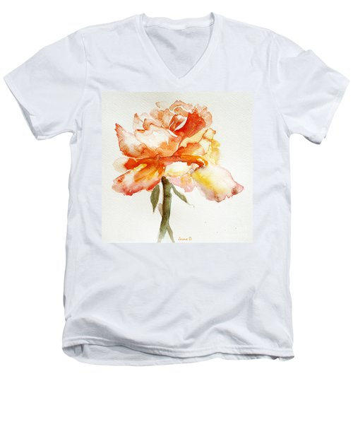 Rose Yellow Men's V-Neck T-Shirt by Jasna Dragun