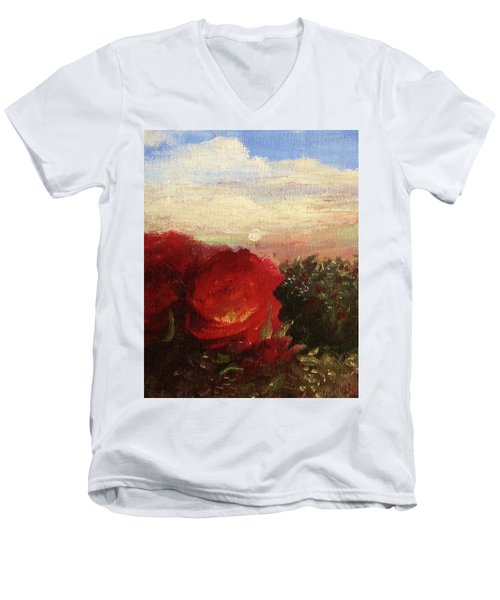 Rosebush Men's V-Neck T-Shirt by Mary Ellen Frazee