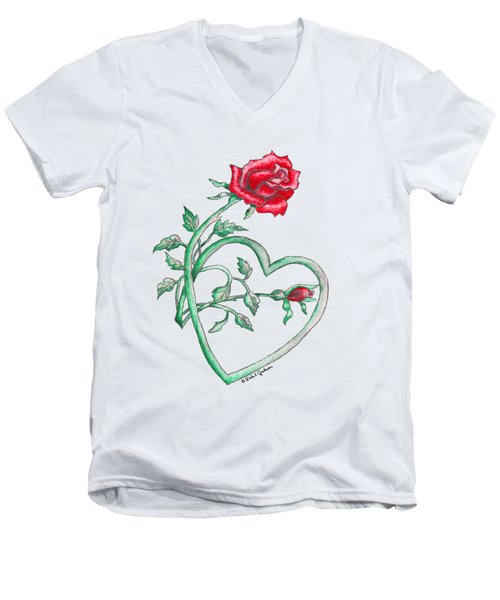 Roses Hearts Lace Flowers Transparency       Men's V-Neck T-Shirt