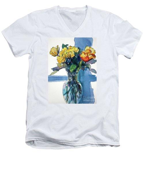 Roses In Vase Still Life I Men's V-Neck T-Shirt by Kathy Braud