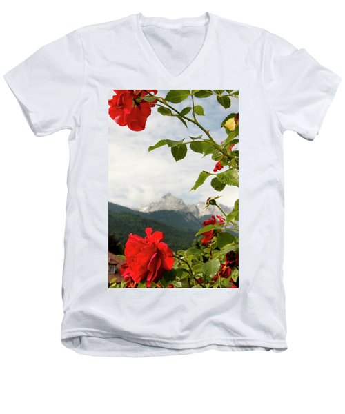 Men's V-Neck T-Shirt featuring the photograph Roses Of The Zugspitze by KG Thienemann