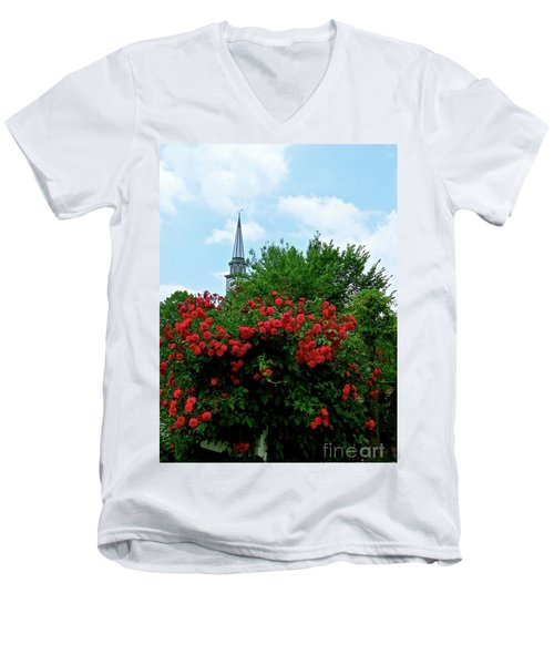 Roses On The Fence In Mauricetown Men's V-Neck T-Shirt by Nancy Patterson