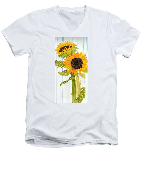 Rosezella's Sunflowers II Men's V-Neck T-Shirt by Anne Marie Brown
