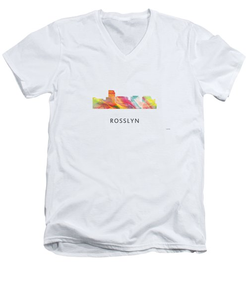 Rosslyn Virginia Skyline Men's V-Neck T-Shirt by Marlene Watson