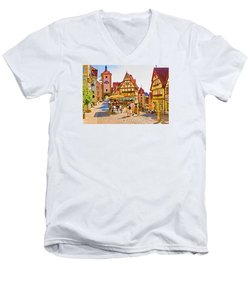 Rothenburg Little Square Men's V-Neck T-Shirt by Dennis Cox WorldViews