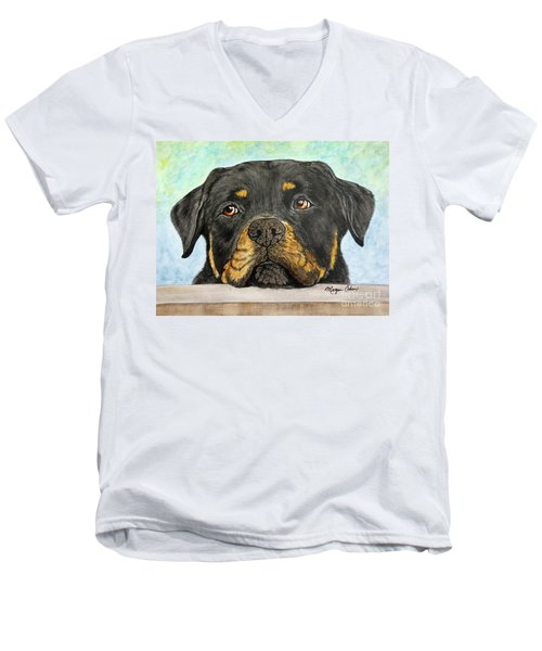 Rottweiler's Sweet Face 2 Men's V-Neck T-Shirt by Megan Cohen