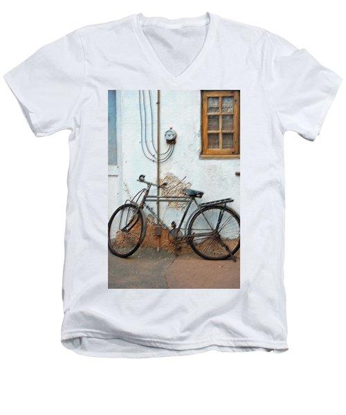 Rough Bike Men's V-Neck T-Shirt by Robert Meanor