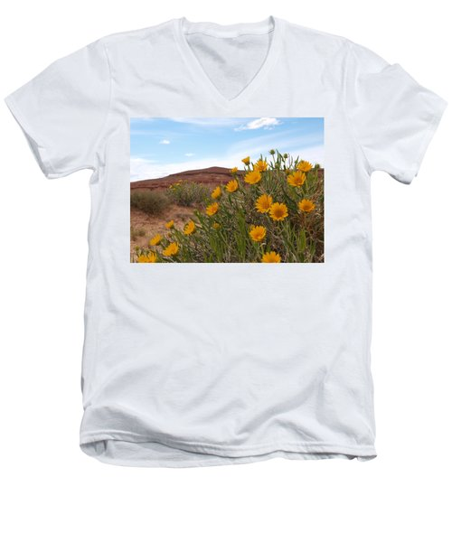Men's V-Neck T-Shirt featuring the photograph Rough Mulesear Flowers by Jenessa Rahn
