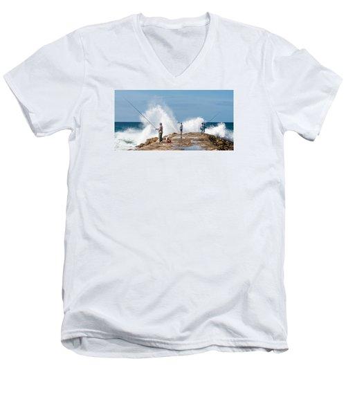 Rough Sea Fishing Men's V-Neck T-Shirt