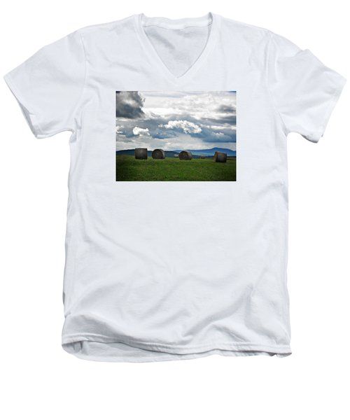 Round Bales Under A Cloudy Sky Men's V-Neck T-Shirt by Joy Nichols