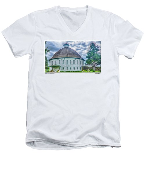 Men's V-Neck T-Shirt featuring the photograph Round Barn, Adams County by R Thomas Berner