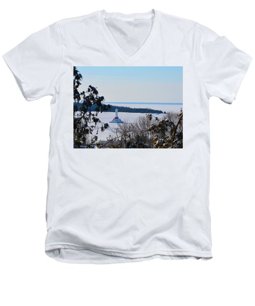 Round Island Passage Light Through The Trees Men's V-Neck T-Shirt