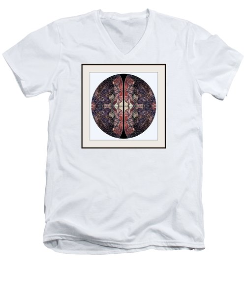 Men's V-Neck T-Shirt featuring the drawing Round One by Jack Dillhunt
