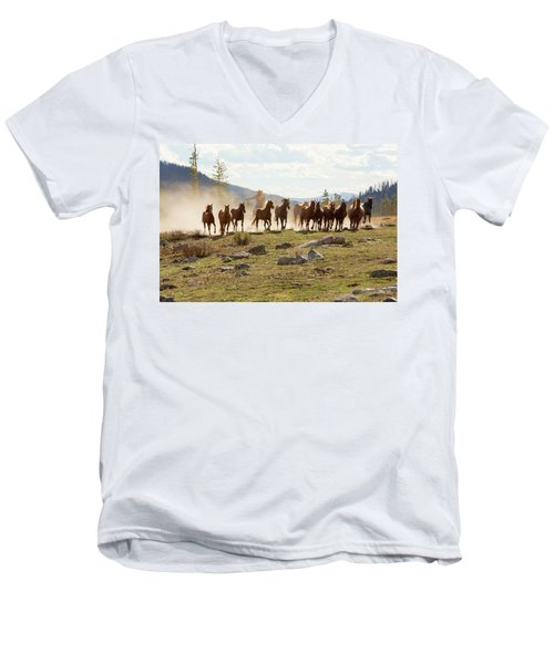 Men's V-Neck T-Shirt featuring the photograph Round Up by Sharon Jones