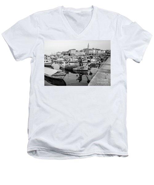 Rovinj Fisherman Working In Old Town Harbor - Rovinj, Istria, Croatia Men's V-Neck T-Shirt