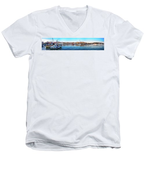 Rovinj Harbor And Boats Panorama Men's V-Neck T-Shirt