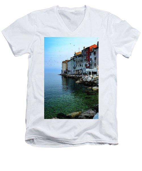 Rovinj Venetian Buildings And Adriatic Sea, Istria, Croatia Men's V-Neck T-Shirt
