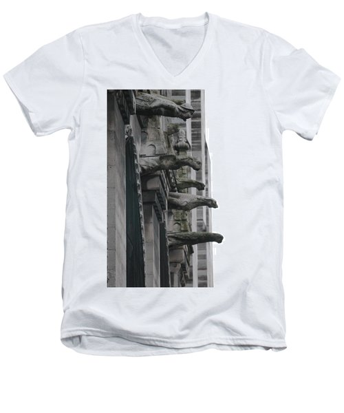 Men's V-Neck T-Shirt featuring the photograph Row Of Gargoyles by Christopher Kirby