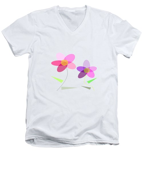 Rows Of Flowers Men's V-Neck T-Shirt by Kathleen Sartoris