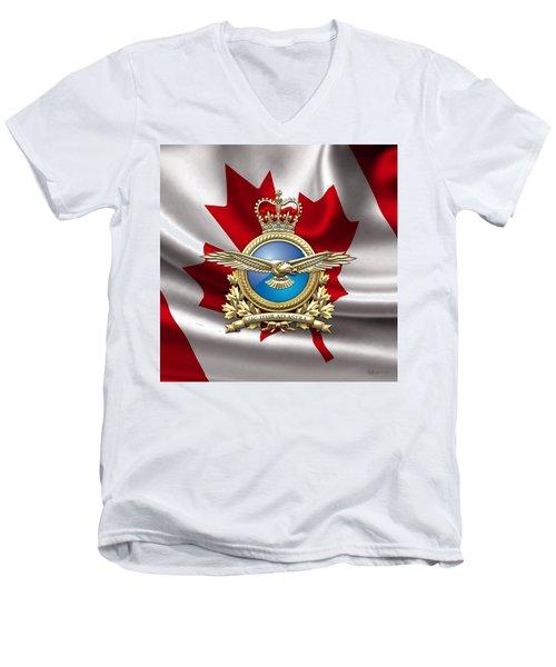 Royal Canadian Air Force Badge Over Waving Flag Men's V-Neck T-Shirt by Serge Averbukh