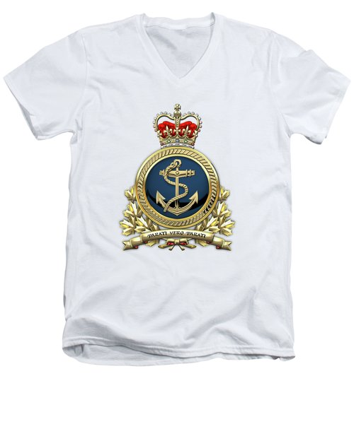 Men's V-Neck T-Shirt featuring the digital art Royal Canadian Navy  -  R C N  Badge Over White Leather by Serge Averbukh