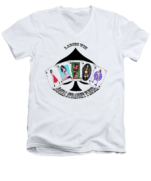 Royal Straight Flush Spades 2 Men's V-Neck T-Shirt
