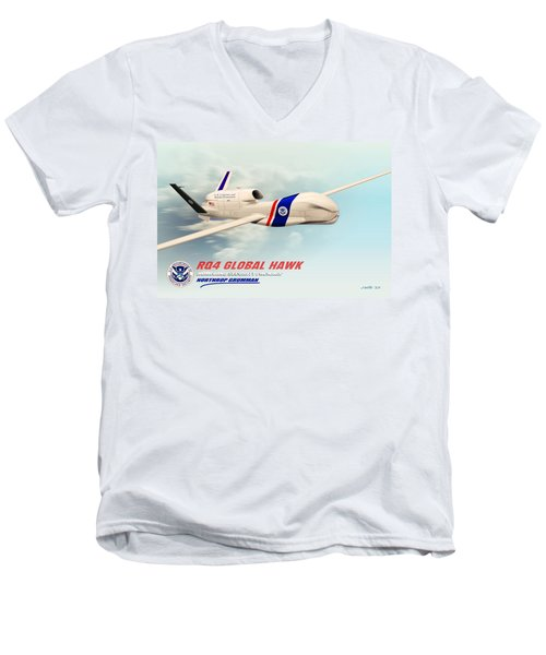 Rq4 Global Hawk Drone United States Men's V-Neck T-Shirt