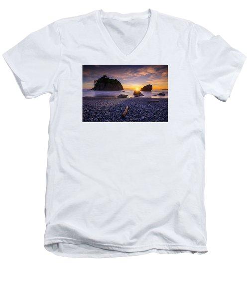 Men's V-Neck T-Shirt featuring the photograph Ruby Beach Dreaming by Dan Mihai