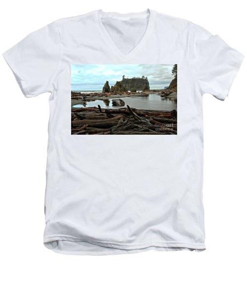 Ruby Beach Driftwood Men's V-Neck T-Shirt