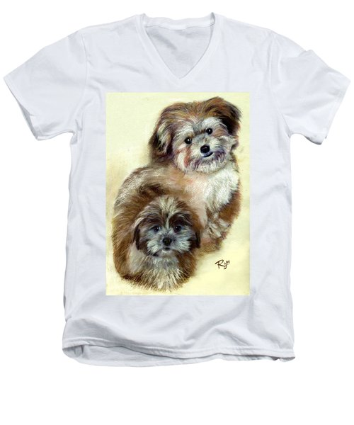 Men's V-Neck T-Shirt featuring the painting Ruby by Ryn Shell