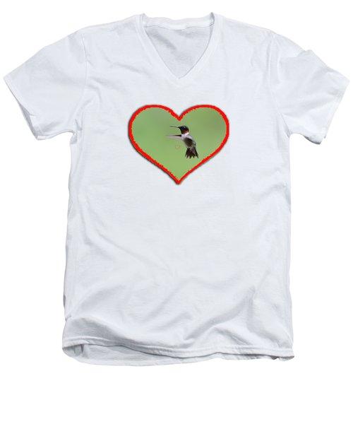 Ruby-throated Hummingbird In Heart Men's V-Neck T-Shirt