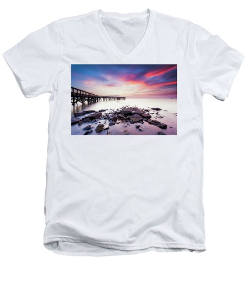 Run To The Sun Men's V-Neck T-Shirt by Edward Kreis