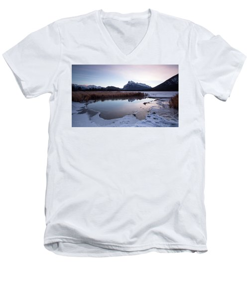 Rundle Mountain Reflections Men's V-Neck T-Shirt