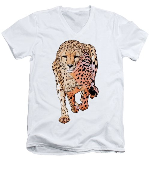 Running Cheetah Cartoonized #1 Men's V-Neck T-Shirt