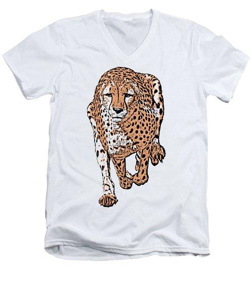 Running Cheetah Cartoonized #2 Men's V-Neck T-Shirt