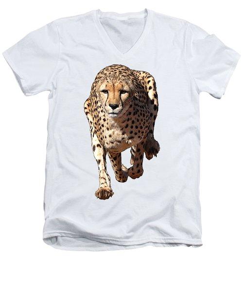 Running Cheetah Cartoonized #3 Men's V-Neck T-Shirt
