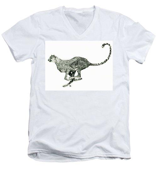 Running Cheetah Men's V-Neck T-Shirt