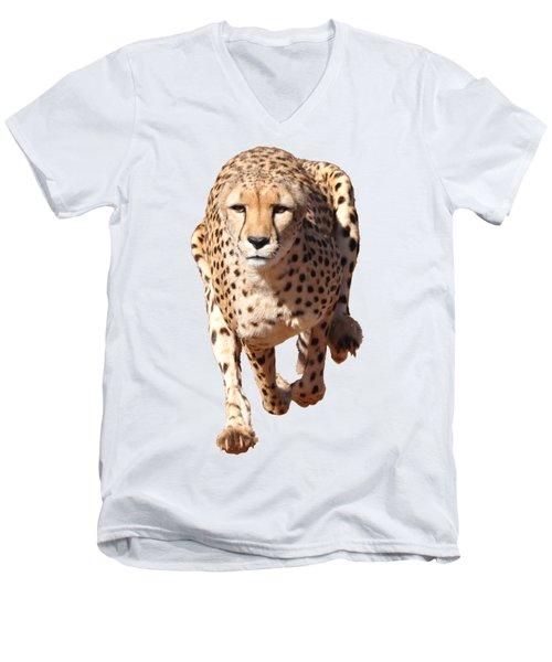 Running Cheetah, Transparent Background Men's V-Neck T-Shirt