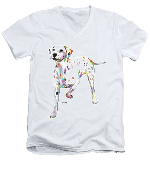 Running Dalmatian Men's V-Neck T-Shirt