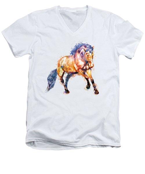 Running Horse Men's V-Neck T-Shirt by Marian Voicu