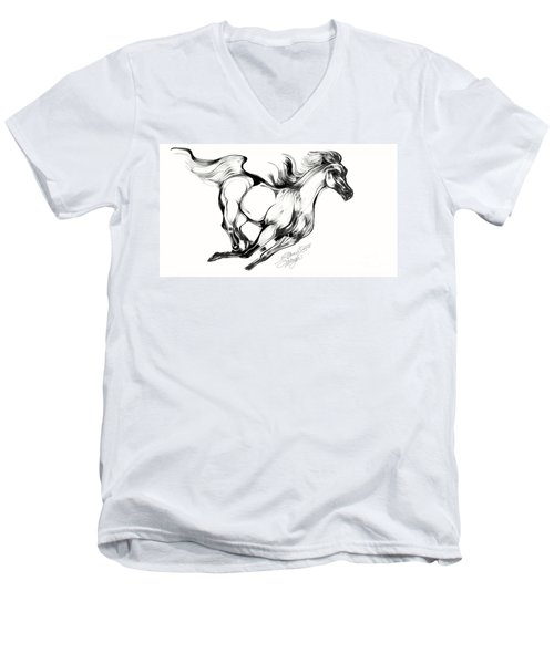 Night Running Horse Men's V-Neck T-Shirt