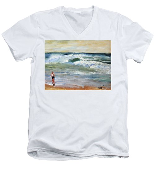 Men's V-Neck T-Shirt featuring the painting Running The Beach by Michael Helfen