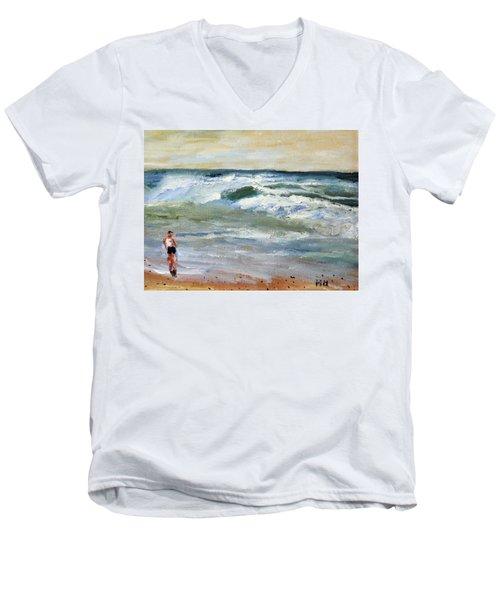 Running The Beach Men's V-Neck T-Shirt by Michael Helfen