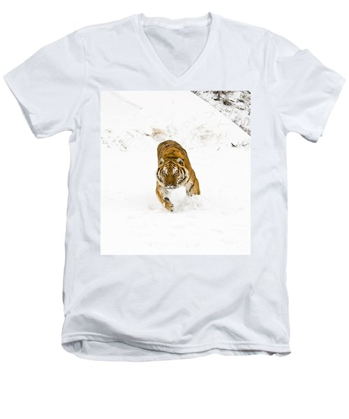 Running Tiger Men's V-Neck T-Shirt