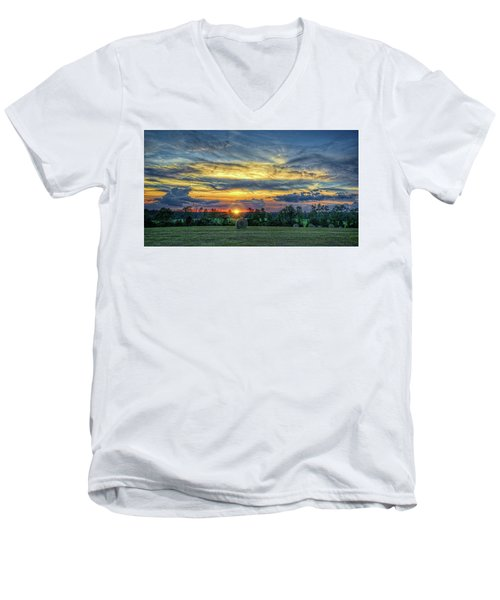 Men's V-Neck T-Shirt featuring the photograph Rural Sunset by Lewis Mann